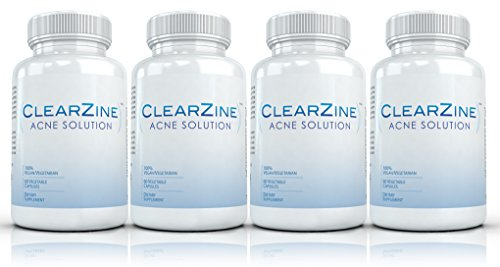 Clearzine-4-Bottles-The-Top-Rated-Acne-Treatment-Pill-Eliminates-Acne-Blackheads-Redness-Blotchiness-and-Zits-60-capsules-per-bottle
