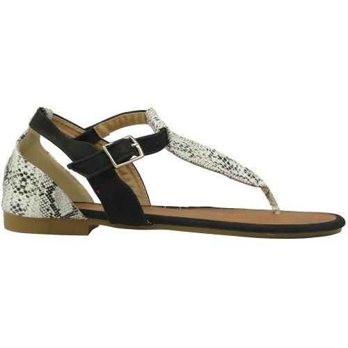 Women Flat Snake Print T-Strap Thong and Back Closure Comfort Sandals Black Sz 5.5-10 Black Ev6Whz0xth