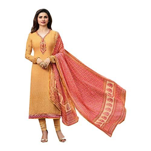 Crepe Designer Pakistani Wedding Salwar Kameez Suit Dress Festival Muslim 2753 (Un Stitched, Yellow)