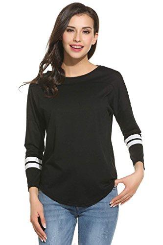 Beyove femme tee shirt manches longues coton Col Rond haut fluide t shirt femme automne