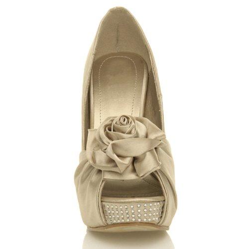Womens ladies platform high heel wedge bridal wedding flower peep toe shoes sandals size Gold NYAC9Hw