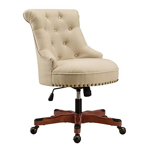 Simple Living Products Executive Office Chair Ergonomic Accent Managerial Desk Working Bankers Chair with Casters, Modern Tufted Back, Nailhead Trim, Adjustable Seat (Rice/Dark Walnut)