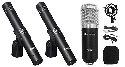 (2) AKG P170 Studio Pencil Microphones Instrument Drum Microphones+Condenser Mic
