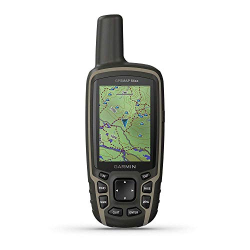 Garmin GPSMAP 64sx, Handheld GPS with Altimeter and Compass, Preloaded With TopoActive Maps, Black/Tan (Renewed)