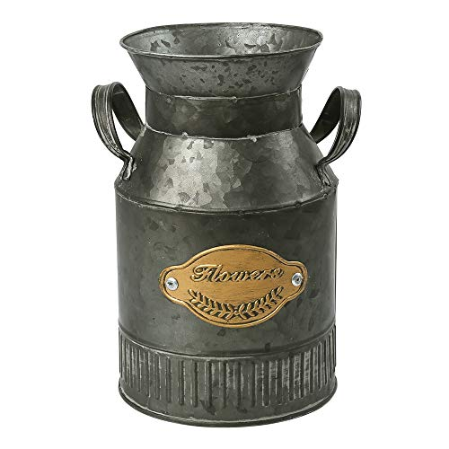 WHHOME Shabby Chic Classy Designed Milk Can Galvanized Finish Metal Vase Country Rustic Primitive Decorative Flower Holder, 8.0