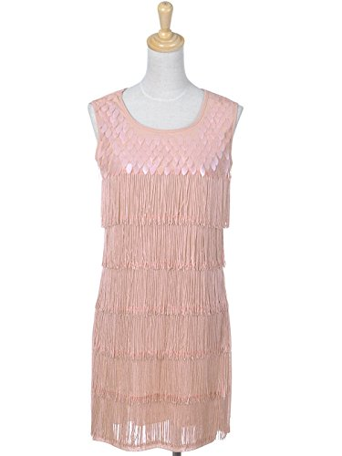 Dress Pink Fringed and Fit Inspired Kaci 1920s M Anna S Sequined Flapper xqH1BvP