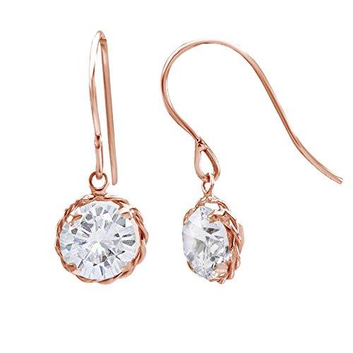 Moissanite Solid Earrings (14k Solid Rose Gold Round Cut Genuine Moissanite Prong set Earrings (2.00)
