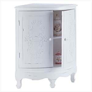 Distressed white wood perfect bathroom corner cabinet kitchen dining for Distressed wood bathroom cabinet