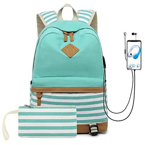 misognare Canvas College Student Bag Laptop USB Backpack High School Rucksack for Men Women -