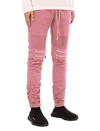 JD Apparel Men's Slim Fit Biker Jogger Pants with Shirring Detail