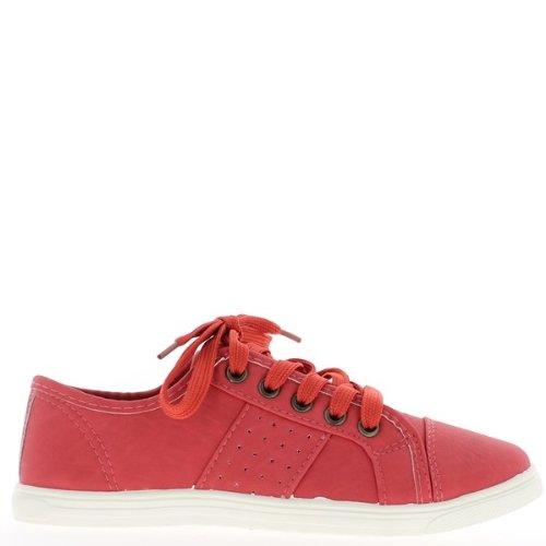 ChaussMoi - Zapatillas de sintético para mujer, color rojo, talla 40