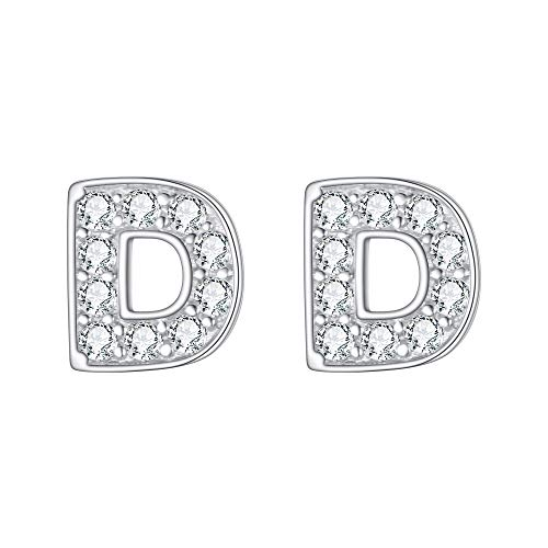 EVER FAITH 925 Sterling Silver Pave Cubic Zirconia Fashion Initial Alphabet Letter D Stud Earrings Clear