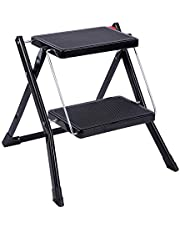 REDCAMP Small Step Ladder 2 Step Stool Folding, Portable Sturdy Metal Small Ladder for Home Kitchen Household Closet, White 250lbs