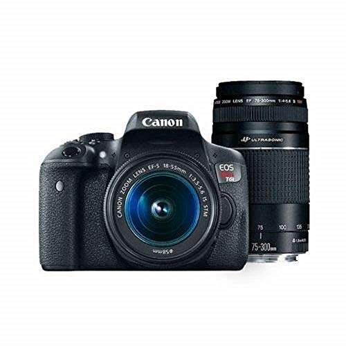 Canon EOS Rebel T6 Digital SLR Camera Kit with EF-S 18-55mm and EF 75-300mm Zoom Lenses (Black) (Certified Refurbished)