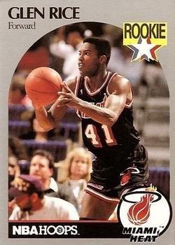 - Glen Rice basketball card (Miami Heat) 1990 Hoops #168 Rookie