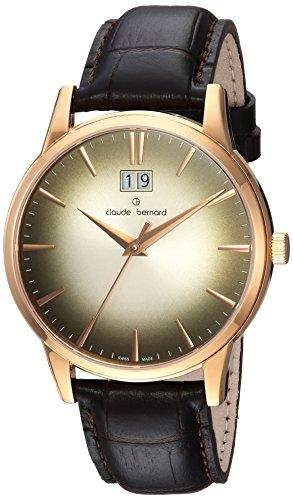 Claude Bernard Men's 'Classic Big Date' Swiss Quartz Stainless Steel and Leather Dress Watch, Color Black (Model: 63003 37R DIR1)