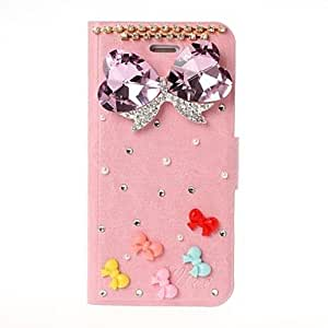 GJY3D DIY Diamond Bow with Rhinestone Pattern Leather Case for iPhone 5/5S