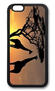MOKSHOP Adorable Giraffes in Sunset Soft Case Protective Shell Cell Phone Cover For Apple Iphone 6 Plus (5.5 Inch) - TPU Black