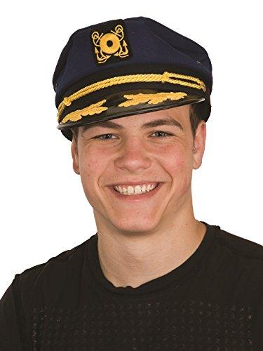 Nicky Bigs Novelties Navy Blue Sailor Ship Yacht Captain Hat Gentleman Smoking HEFNER Pipe Costume (Bakelite Hat)