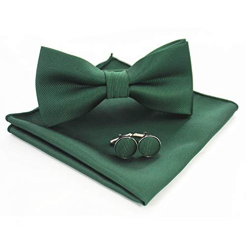 JEMYGINS Green Bow Tie Silk Bowtie and Pocket Square Hankerchief With Cufflinks Sets for Men(3) ()