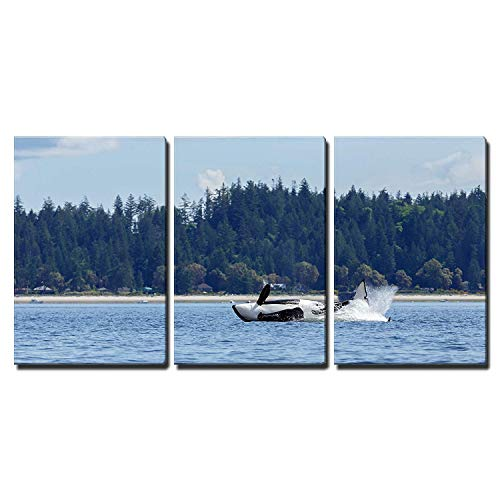 wall26 - 3 Piece Canvas Wall Art - Jumping orca ore killer whale - Modern Home Decor Stretched and Framed Ready to Hang - 16