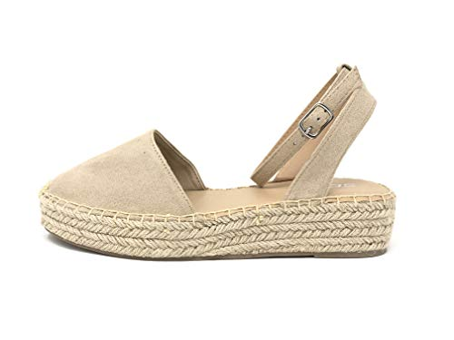 Womens Ankle Wrap Espadrille Platform Sandal, Oatmeal Oat ISU Taupe, 8