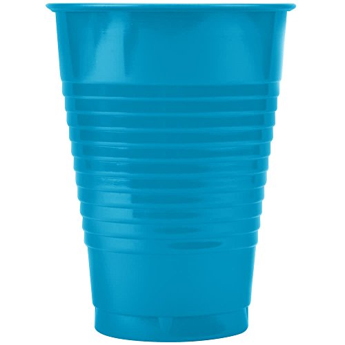 28313171 12 oz. Turquoise Blue Plastic Cup - 20/Pack By TableTop King