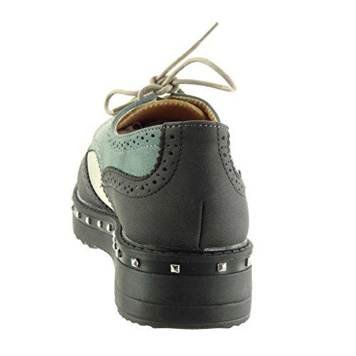 Femme Clouté 3 CM Plateforme Chaussure Noir Compensé Perforée Talon 5 Mode Angkorly Derbies AXFx6Xn