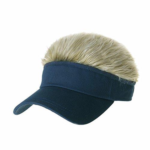 WITHMOONS Flair Hair Sun Visor Cap with Fake Hair Wig Novelty KR1588 (Navy)