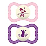 MAM Air Night Orthodontic Pacifier,2 Pack, Girl, 6+ Months