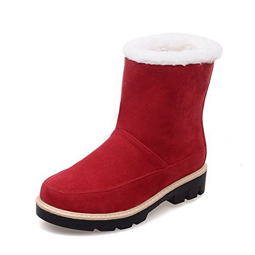 Solid Frosted Red top Boots Heels Toe Closed Women's AmoonyFashion Low Low Round qWBUYzcxwO