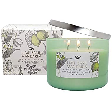 T&H Stress Relief Aromatheraphy Candles 3 Wick Pure Soy Wax Scented Candle 80 Hour Burn Long Lasting 16 Ounce Handmade Glass (Lime Basil Mandarin)