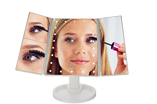 Lighted Makeup Mirror With Lights - LUXURY LED Vanity Mirror With Lights and Trifold Mirror - The PERFECT Make Up Mirror for Your Bathroom or Gift - BEST Magnifying Mirror with Light for Cosmetics by Total Allure