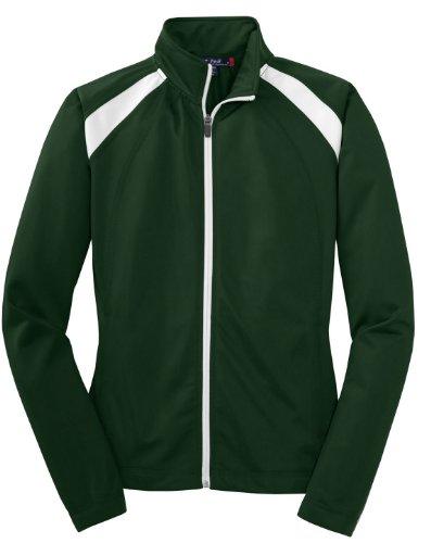 Sport-Tek Women's Long-Sleeve Full Zip Polyester Athletic Running Tricot Track Jacket,4X Plus,Forest Green/White by Sport-Tek