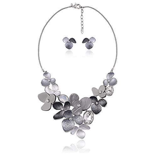 Bib Statement Necklace Earring Set - Women's Elegant Vintage Wedding Bridal Crystal Rhinestone cz Leaf Petal Flower Floral Chunky Jewelry Set Choker Collar Necklace for Daily Party Prom with Gift Box