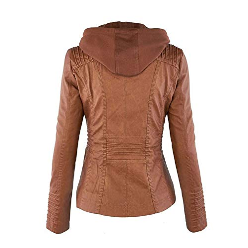 Capispalla Ecopelle Collar Donna Cappotto Giacca Hot Felpe Da Apricot Ladies Pu Con Availcx Biker Jacket Moto Turndown Cappuccio Winter 1Oqwpx7v