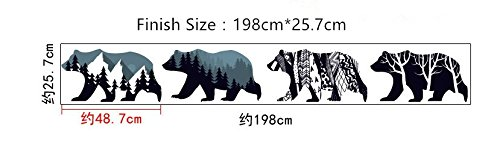 (Forest Polar Bear Silhouette Wall Stickers DIY Mural Art Decal Self Adhesive Removable PVC Wall Paper Decor for Bedroom Living Room,Blue)