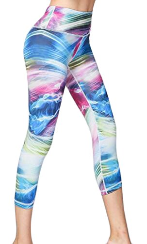 Sweatwater Women Tie Dyed Fitness Tight Running Outdoors Yoga Capri Leggings 5 Medium ()