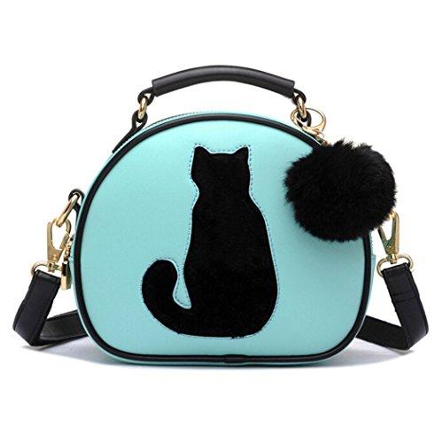 Bag Shoulder Pompon Cross Teen Handbags Women Girls Cat Blue Purse Fur Body Hibelief CwStZxqc