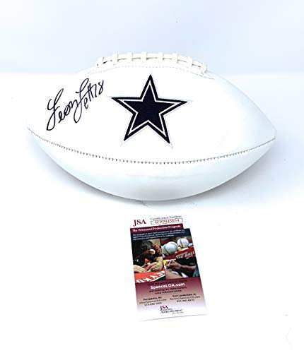 Leon Lett Dallas Cowboys Signed Autograph Embroidered Logo Football JSA Witnessed Certified