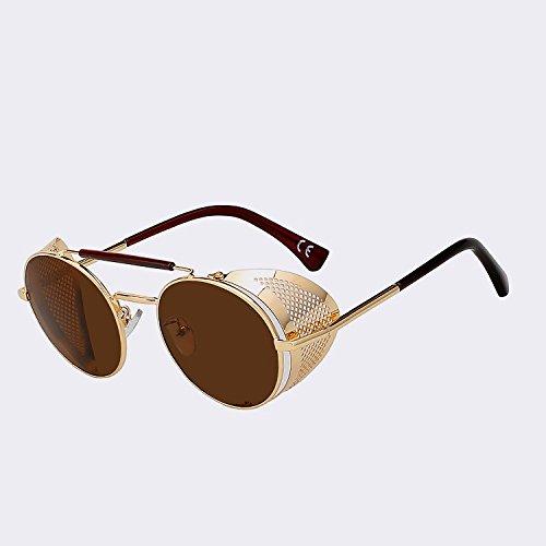 gafas Mujer Hombre w TIANLIANG04 de de de Hombre UV400 lujo Gold gafas gafas moda metal Vintage negro brown sol sol de Retro W plata de dztwtqg