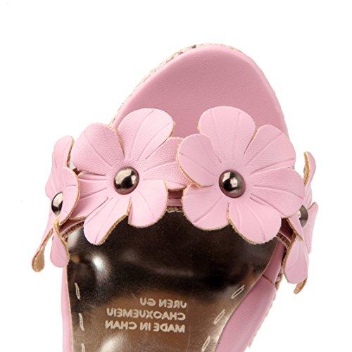 AIYOUMEI Damen Knöchelriemchen Plateau Keilabsatz Sandalen mit Blumen and 11cm Absatz Süß Schuhe Rosa