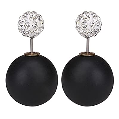 LackingOne Vintage Classic Button Pearl Studs Earrings Ball Earrings Color Matte Black