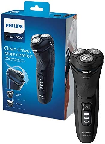 Philips New Series 3000 Wet or Dry Men's Electric Shaver with A 5D Pivot & Powercut Blades, Shiny Black -S3233/52