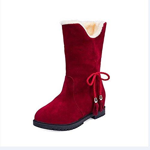 Neige D'hiver Talons Mode Magiyard De Bottines Chaussures Bottes Rouge Femme OE0nEIwqgx