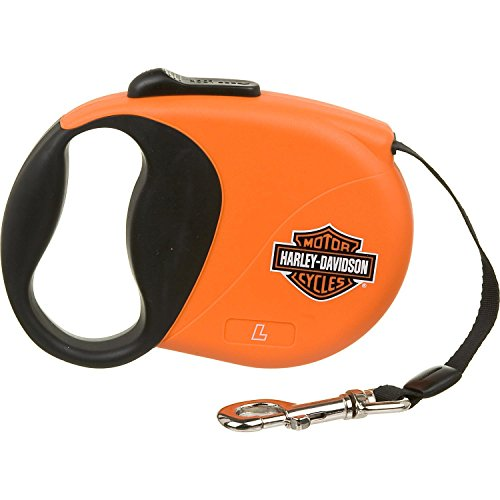 Harley-Davidson 16' Retractable Lead, Large, Color:Orange