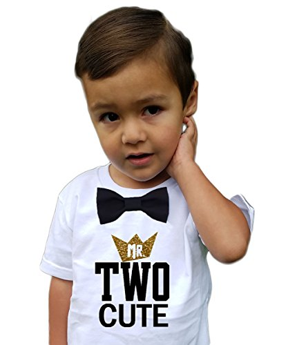 Boys 2nd Birthday Shirt Two Cute Black and Gold Bow Tie 2T