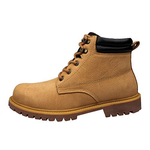 (Modern Fantasy Mens Lace Punk Leather Ankle Leather Logger Boot Work Shoes Size 11.5 US Brown)
