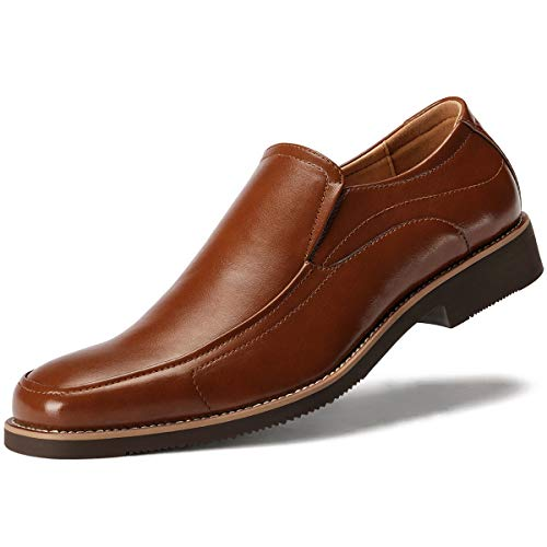 Brown Dress Shoes Loafers - GM GOLAIMAN Men's Dress Shoes Slip On Formal Square-Toe Loafer Brown 11