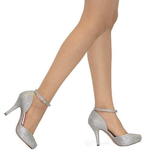 Sparkle Closed MVE Toe Shoes Shoes Womens Silver Strap Ankle r Dress Stylish pggOt7Txq